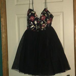 Dresses & Skirts - Embroidered Flowered Black Dress